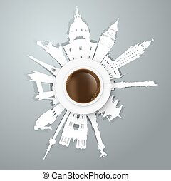cup of coffee traveling concept. Vector eps10 illustration