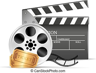 Movie clapper and film reel over wh