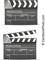 Black cinema clapper isolated