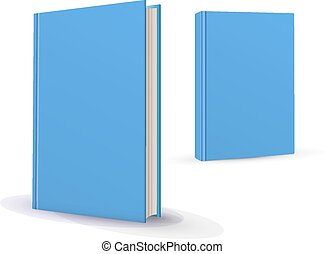 Blank vertical books cover template with pages in front side...