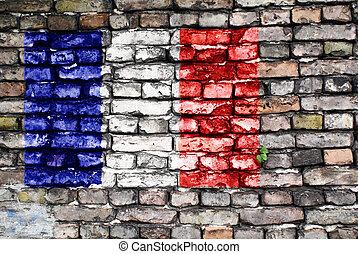 viejo, pintado, francia, pared, bandera, ladrillo