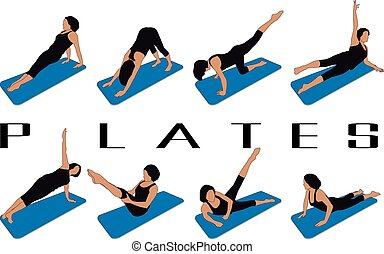 pilates - set of eight silhouettes of different pilates...