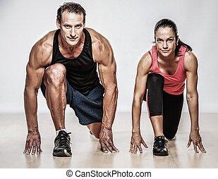 atlético, homem, e, mulher, fazendo, condicão...