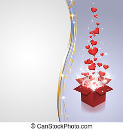 Magic Box with Red Hearts - magic gift box with flying...