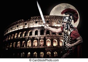 romana, legionary, soldado, em, frente, de, Coliseum, em,...