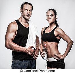 atletisk, par, efter, Övning,  fitness