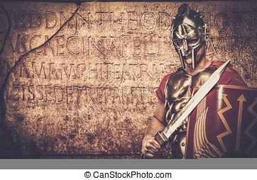 romana, legionary, soldado, em, frente, de, parede, com,...