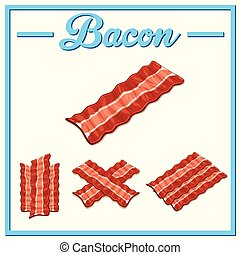 Vector bacon setHand drawn bacon - Bacon hand-drawn set...