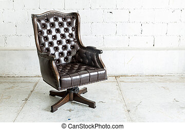 Black Chair in vintage room - Black genuine leather...