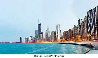 Chicago Panorama Lake Michigan - Panorama of City of Chicago...