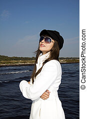 Fashion model with French beret