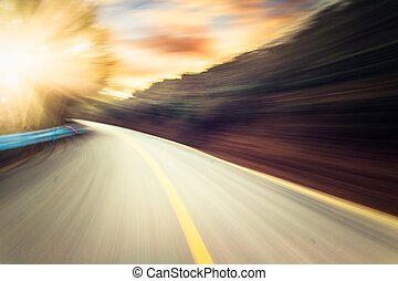 mountain road - Road Winding Through mountain in sunset