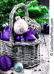 Christmas decorations in purple tone