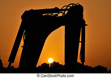 Working site sunset - Sunset over the working site