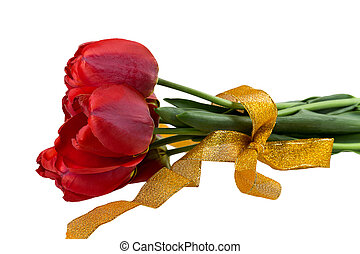 bouquet of red tulips yellow ribbon
