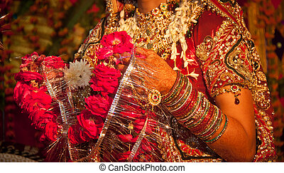 Hindu wedding ritual in india - Garland of rose flower...