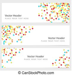 Abstract template horizontal banner with color square...