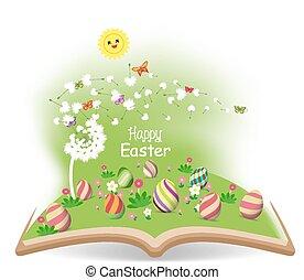 easter egg spring with dandelion