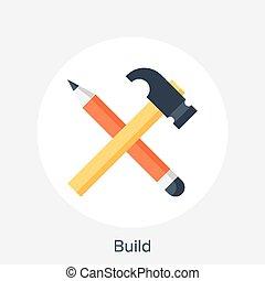 Build Concept - Vector illustration of build flat design...
