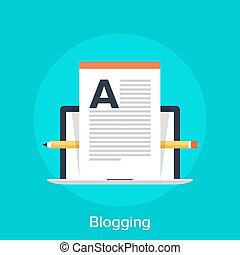 Blogging - Vector illustration of blogging flat design...