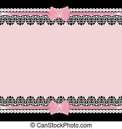 Background with pearls - Greeting card with lace borders...