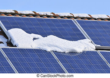 Solar modules with snow in winter