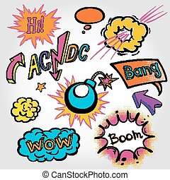 comic cloud, vector, wow, design, bang, boom, collection -...