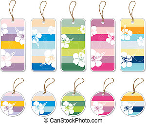 Collection of colorful gift tags