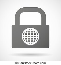 Lock icon with a world globe