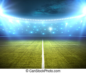 stadium - green stadium arena with spotlight