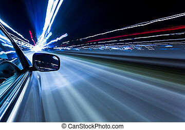 speed car - View from Side of Car Going Around Corner,...