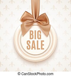 Big sale banner with golden ribbon and a bow