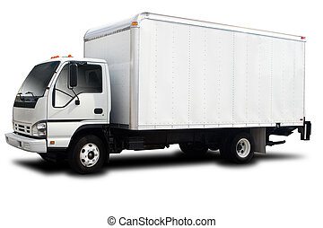 Delivery Truck - A Big Delivery Truck Isolated on White