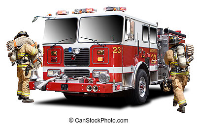 Fire Truck - Big Red Fire Truck Isolated on White