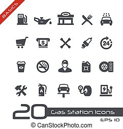 Gas Station Icons -- Basics - Vector icons for your web or...