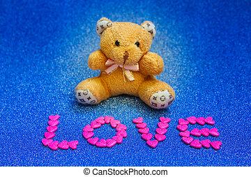 teddy, oso, en, azul, fondo.,