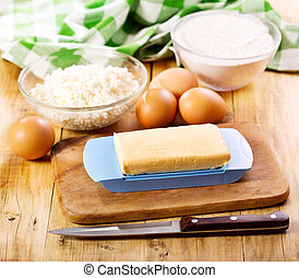butter with eggs, cottage cheese and fluor