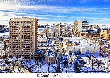 Saskatoon skyline in Winter - The city skyline of Saskatoon,...