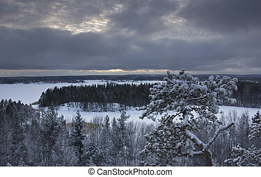 Lake Ladoga, Karelia, Russia - view of the winter lake...