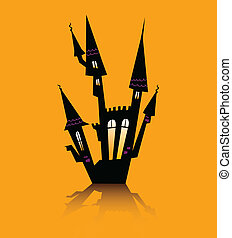 Halloween haunted house - Haunted house silhouette. Vector...
