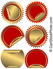 Set golden and red  labels  (vector)