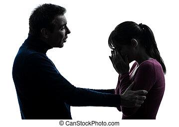 par, mulher, chorando, homem, Consolar, silueta,