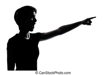 one young teenager girl pointing surprised silhouette