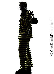 man prisoner criminal with chain ball silhouette - one man...