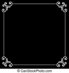 Retro Silent Movie Calligraphic Frame on Black Screen Vector...