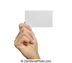 Woman holding blank business card in hand. Isolated on...