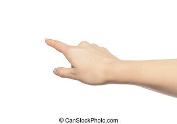 Woman hand touching virtual screen. - Woman hand touching...