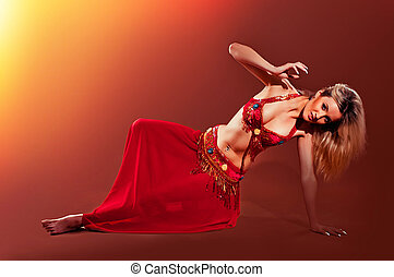Beautiful exotic belly dancer woman - Attractive girl dances...