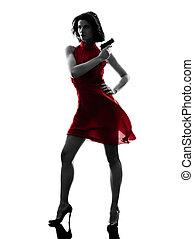 sexy woman holding gun silhouette - one sexy woman holding...