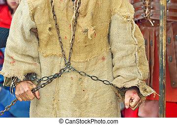 handcuff prisoner - roman soldier and handcuff prisoner
